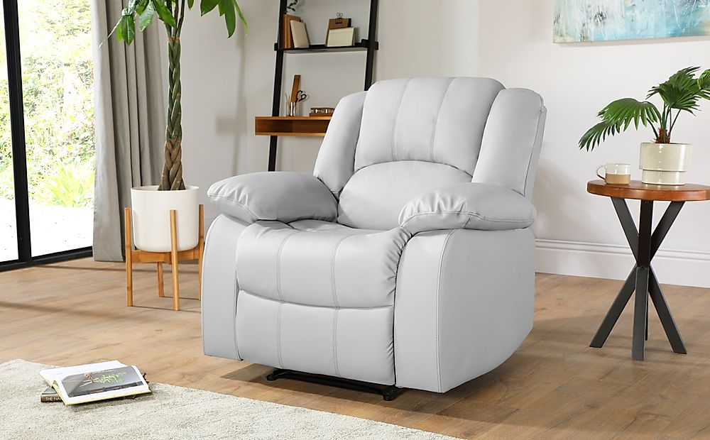 Dakota Light Grey Leather Recliner Armchair