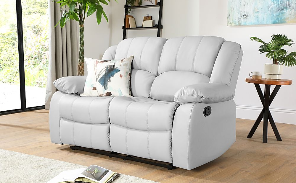 Dakota Light Grey Leather 2 Seater Recliner Sofa