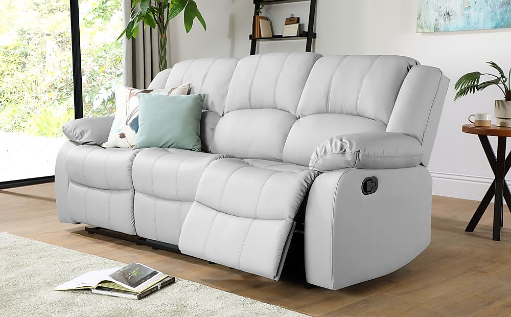 Dakota Light Grey Leather 3 Seater Recliner Sofa