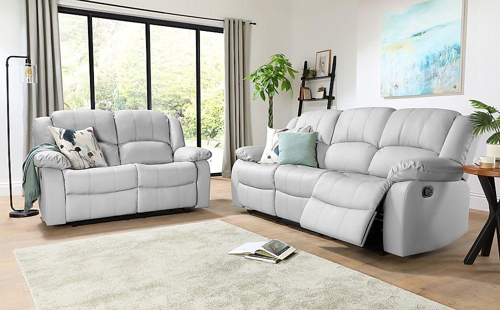 Dakota Light Grey Leather 3+2 Seater Recliner Sofa Set