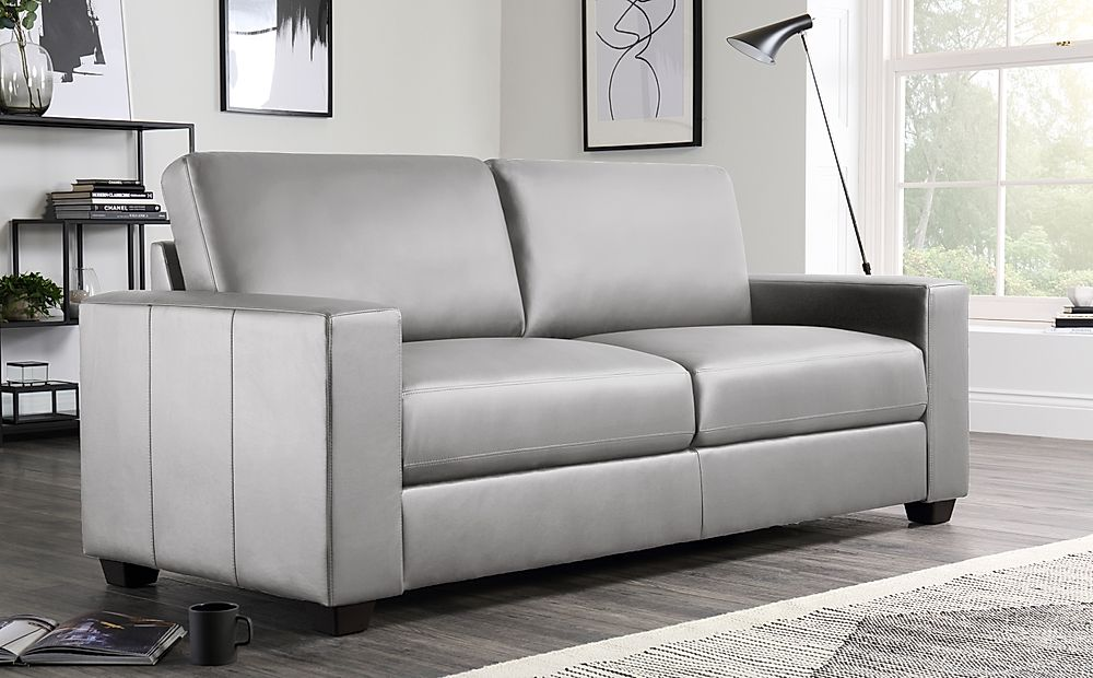 Mission Light Grey Leather 3 Seater Sofa