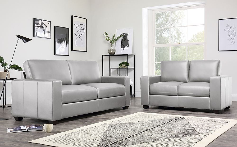 Mission Light Grey Leather 3+2 Seater Sofa Set