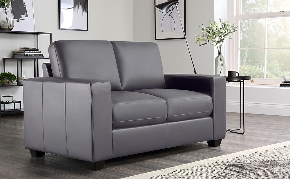 Mission Grey Leather 2 Seater Sofa