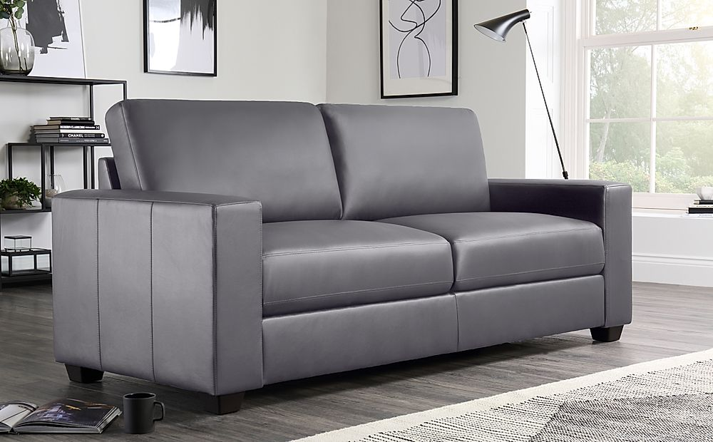 Mission Grey Leather 3 Seater Sofa