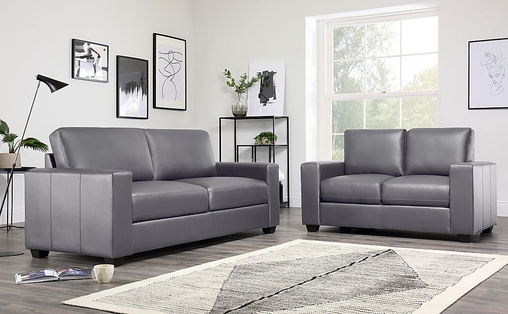 Mission Grey Leather 3+2 Seater Sofa Set