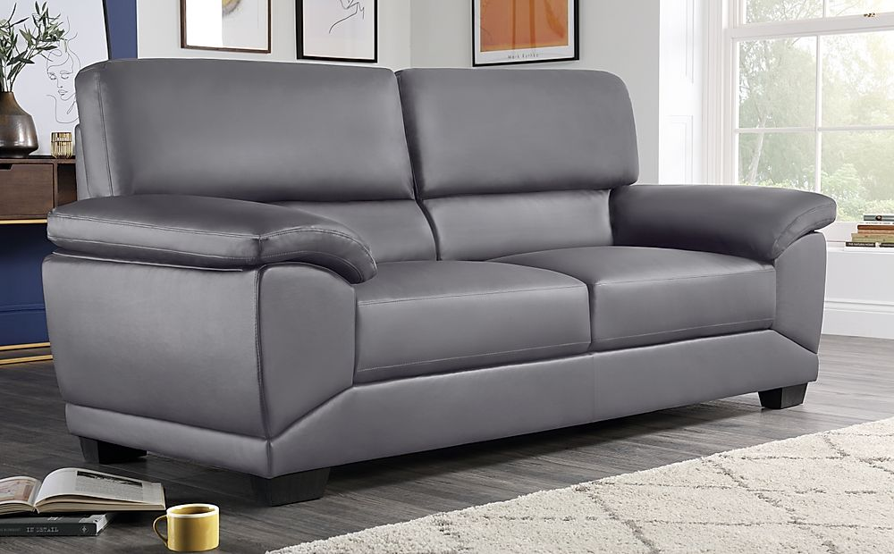 Oregon Grey Leather 3 Seater Sofa