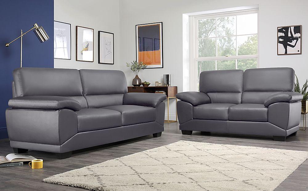 Oregon Grey Leather 3+2 Seater Sofa Set