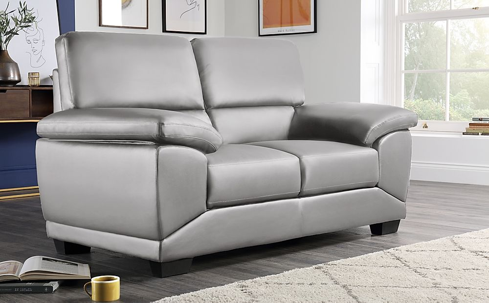 Oregon Light Grey Leather 2 Seater Sofa