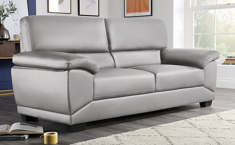 Oregon Light Grey Leather 3 Seater Sofa