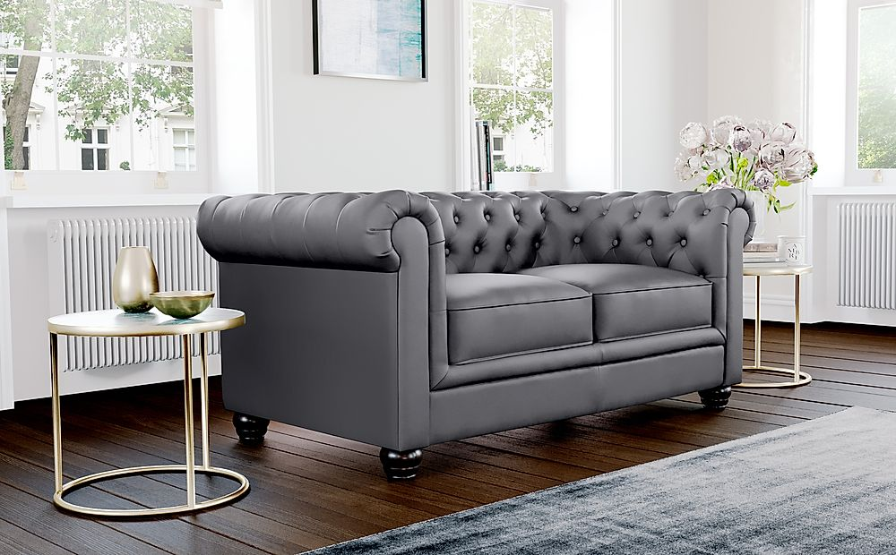 Hampton Grey Leather 2 Seater Chesterfield Sofa