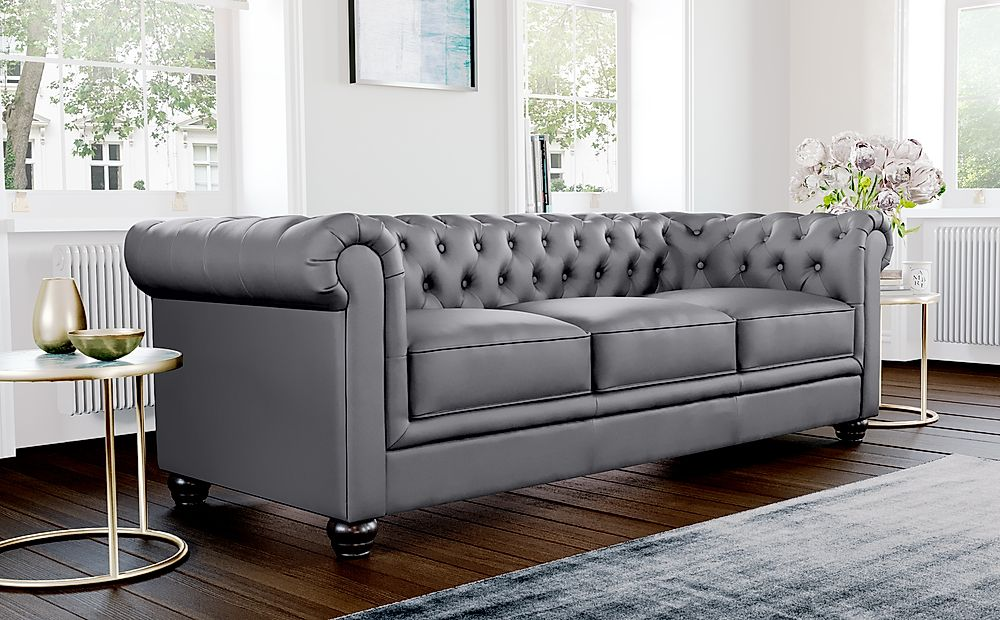 Hampton Grey Leather 3 Seater Chesterfield Sofa