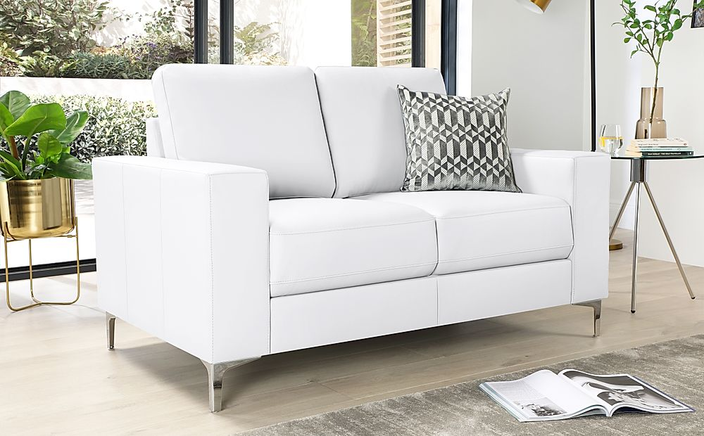 Baltimore White Leather 2 Seater Sofa