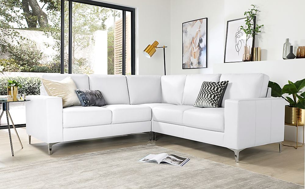 Baltimore White Leather Corner Sofa Furniture And Choice