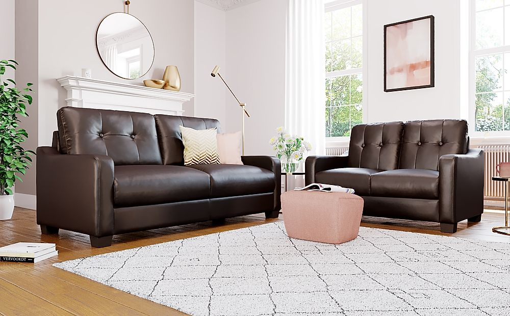 Belmont Brown Leather 3+2 Seater Sofa Set