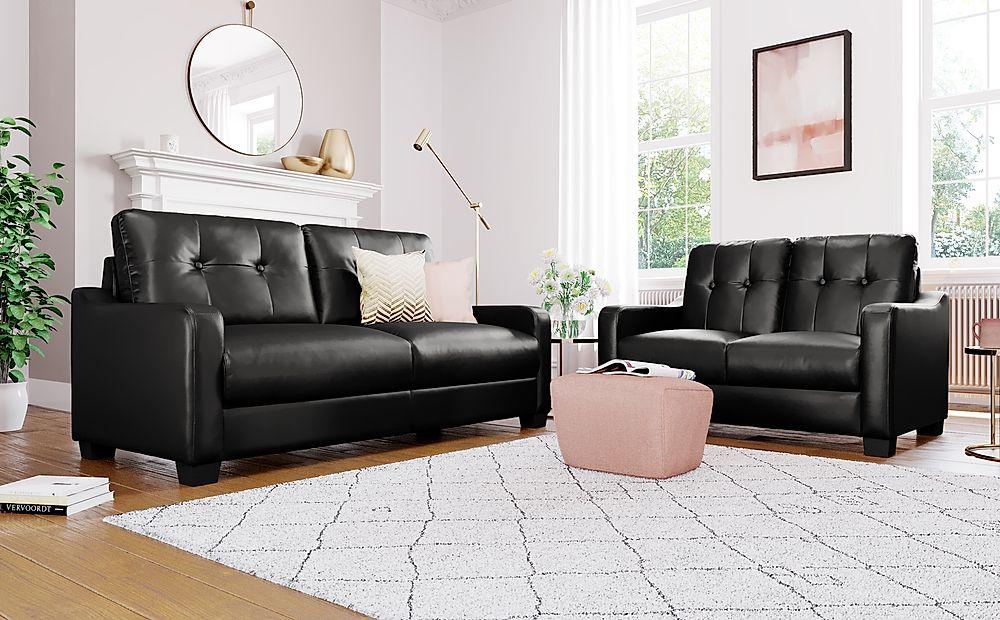 Belmont Black Leather 3+2 Seater Sofa Set