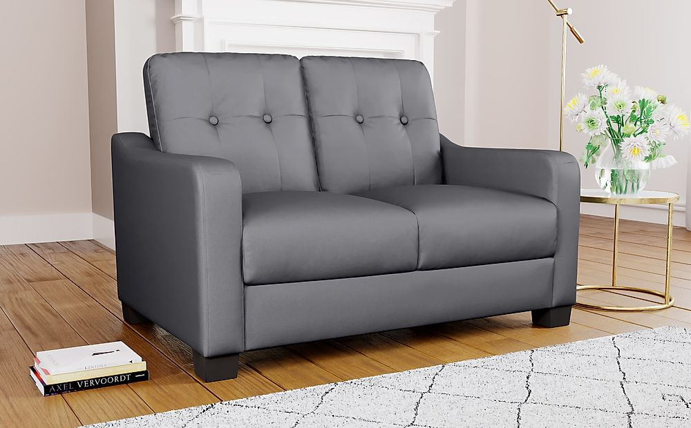 Belmont Grey Leather 2 Seater Sofa