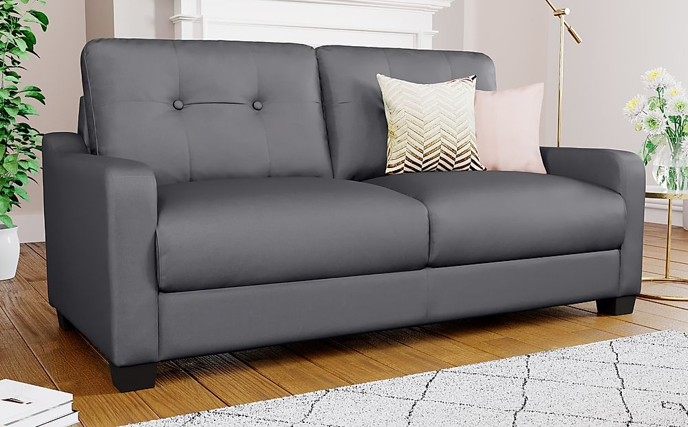 Belmont Grey Leather 3 Seater Sofa