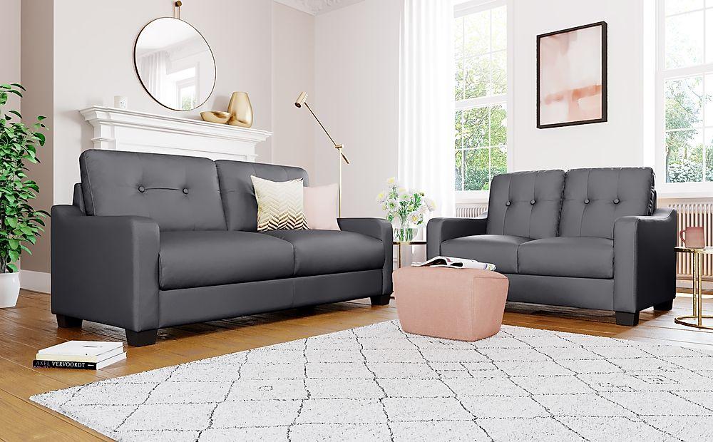 Belmont Grey Leather 3+2 Seater Sofa Set