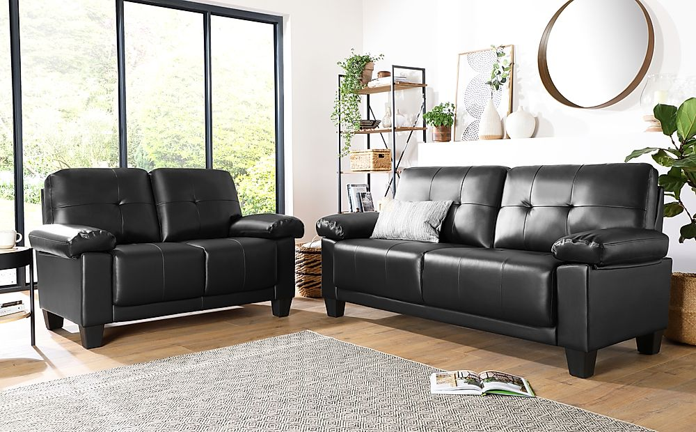 Linton Small Black Leather 3+2 Seater Sofa Set