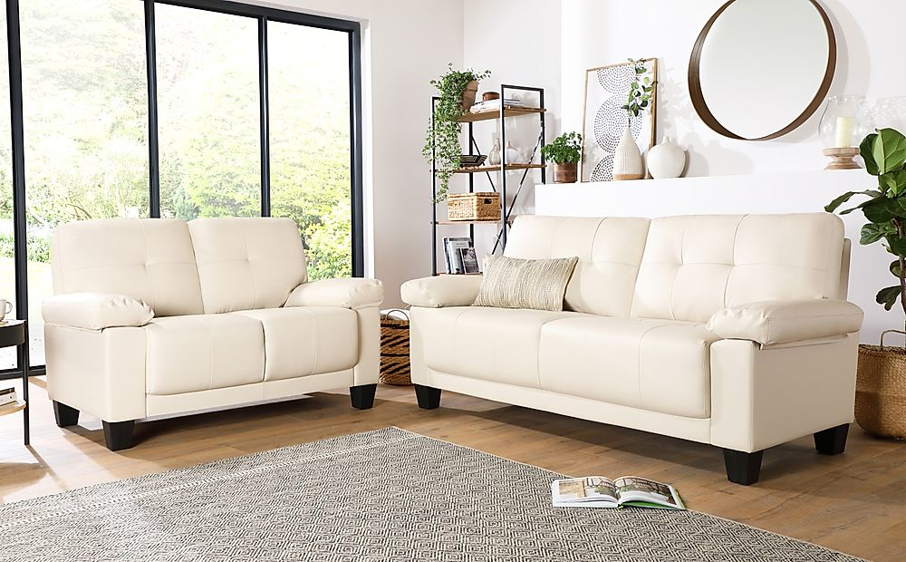 Linton Small Ivory Leather 3+2 Seater Sofa Set