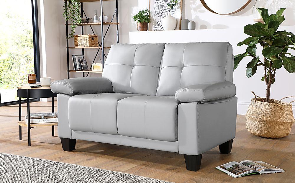 Linton Small Light Grey Leather 2 Seater Sofa