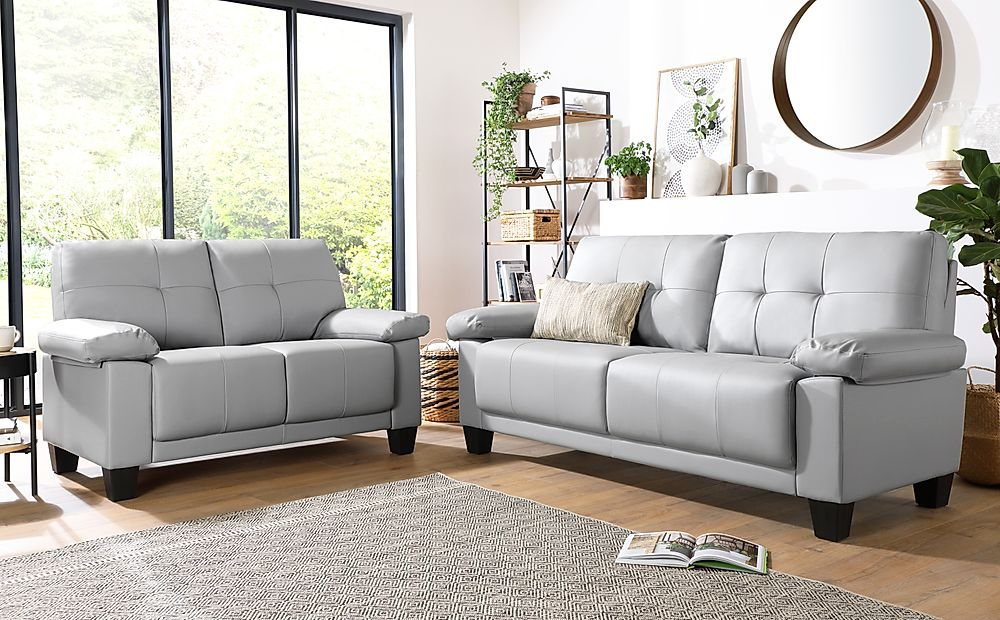 Linton Small Light Grey Leather 3+2 Seater Sofa Set