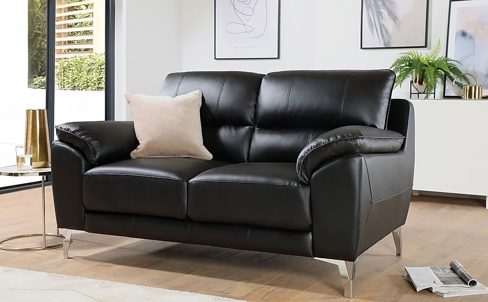 Madrid Black Leather 2 Seater Sofa