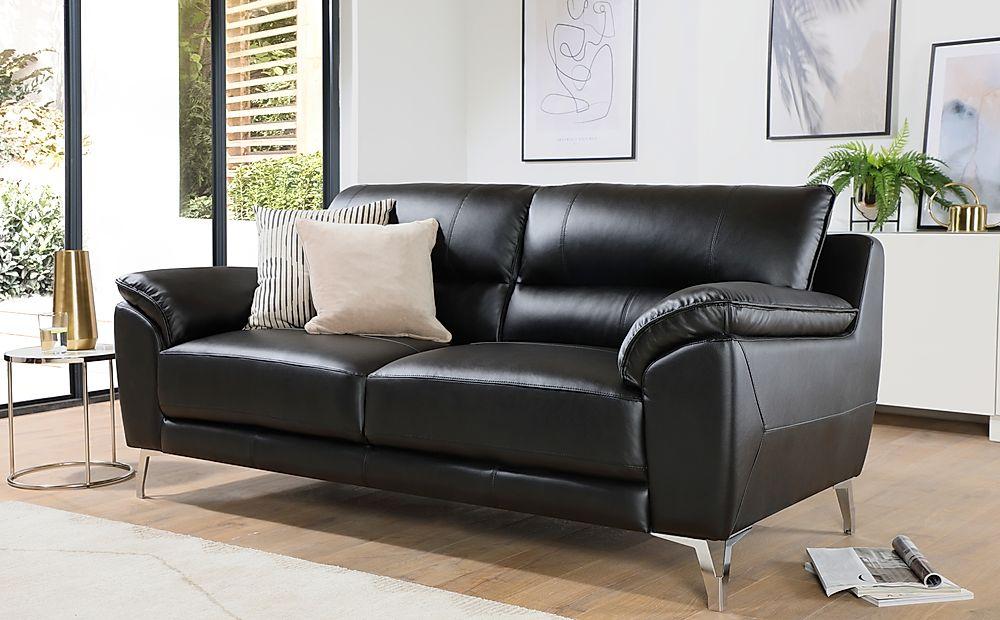 Madrid Black Leather 3 Seater Sofa