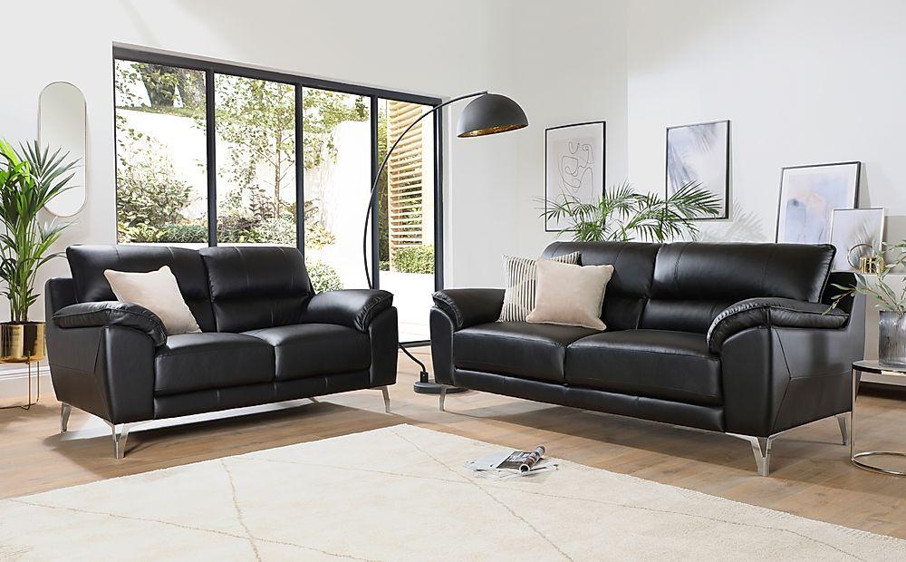 Madrid Black Leather 3+2 Seater Sofa Set