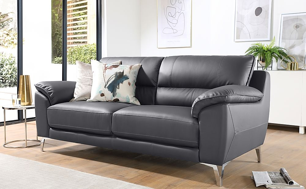 Madrid Grey Leather 3 Seater Sofa