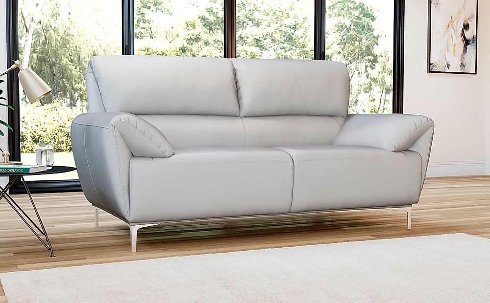 Enzo Light Grey Leather 2 Seater Sofa