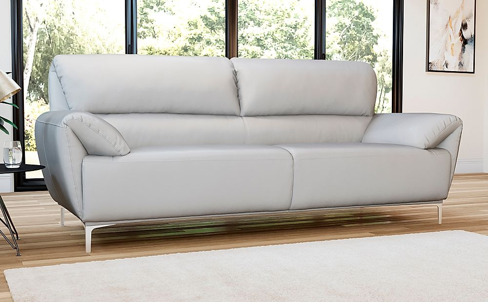 Enzo Light Grey Leather 3 Seater Sofa