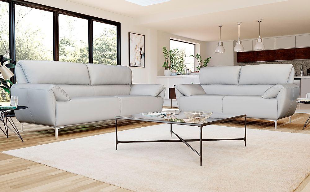 Enzo Light Grey Leather 3+2 Seater Sofa Set
