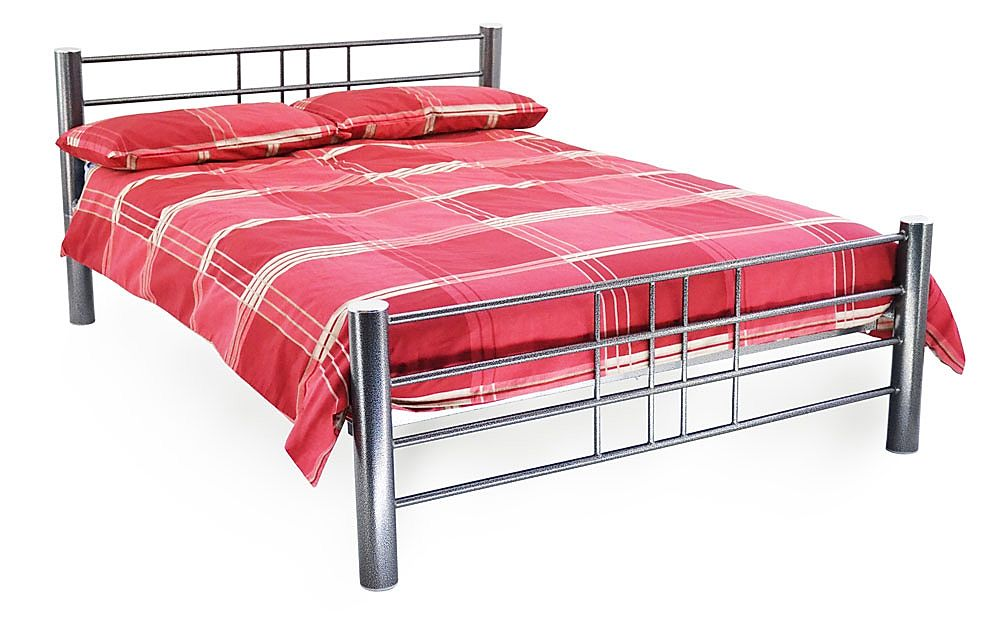 Cuba Silver Metal Small Double Bed