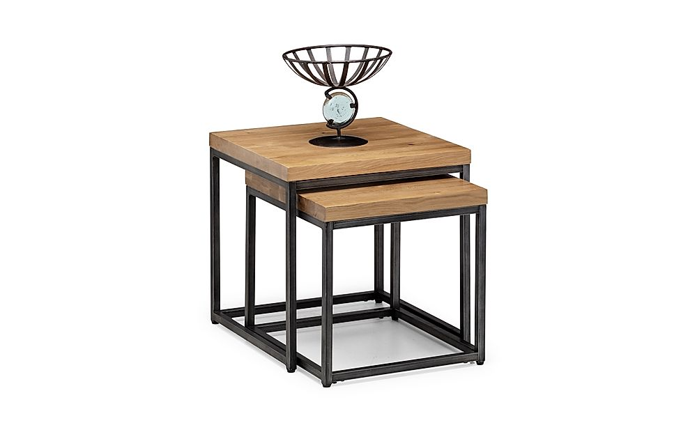 Clayton Solid Oak and Gunmetal Nest of Side Tables