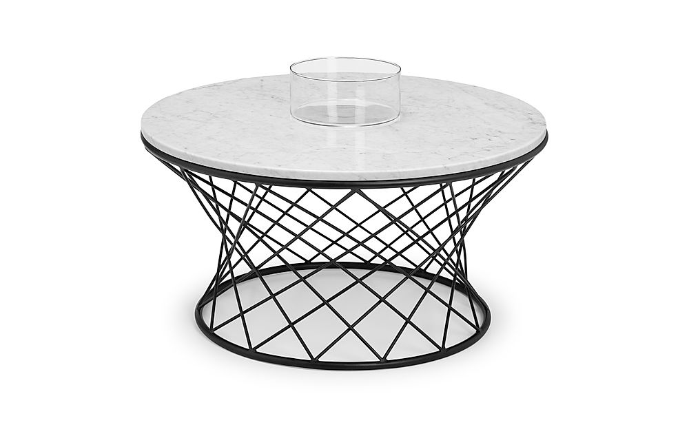Curzon Round Solid Marble and Black Metal Coffee Table