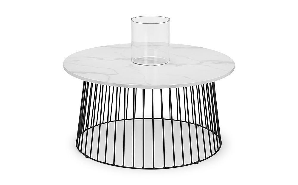 Pavilion Round Marble and Black Metal Coffee Table