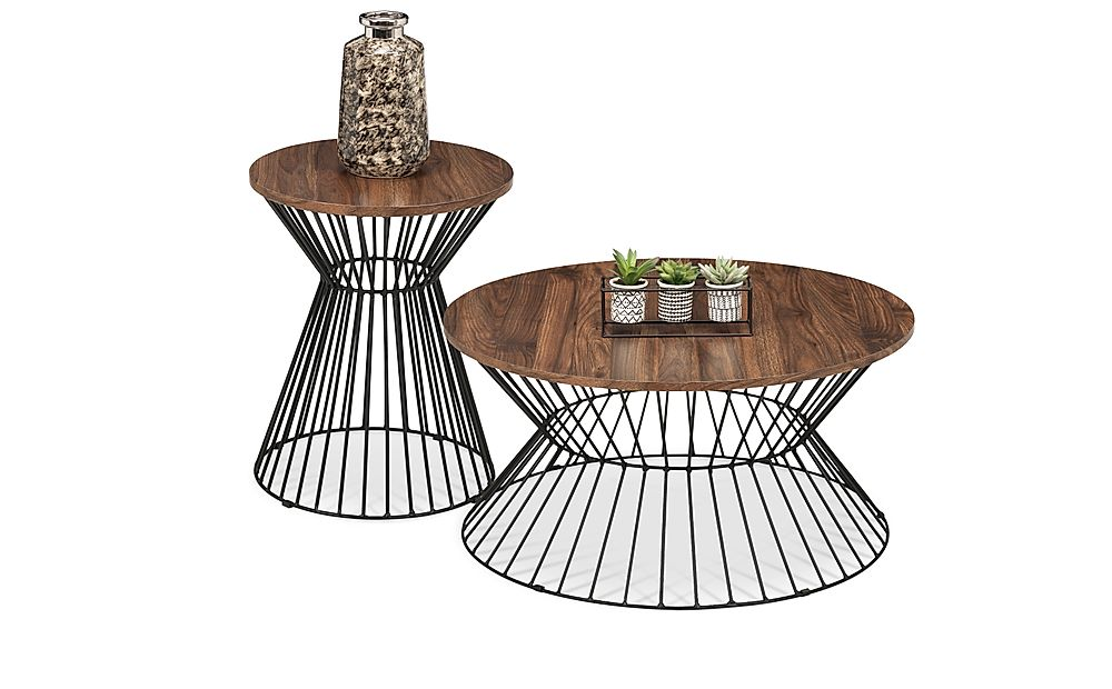 Holborn Round Walnut and Black Metal Coffee and Side Table Set