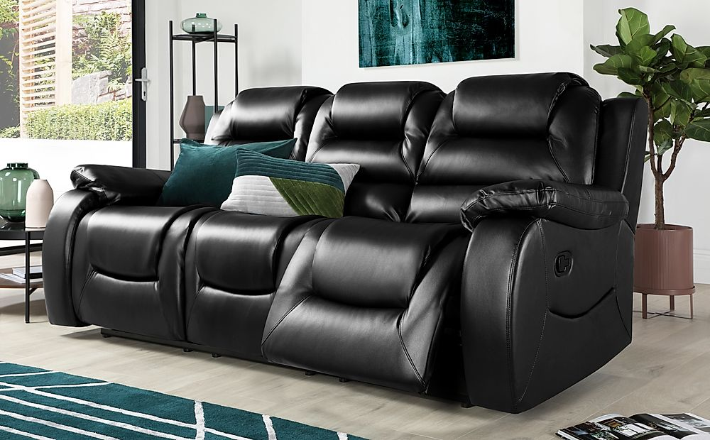 Vancouver 3 Seater Leather Recliner Sofa (Black)