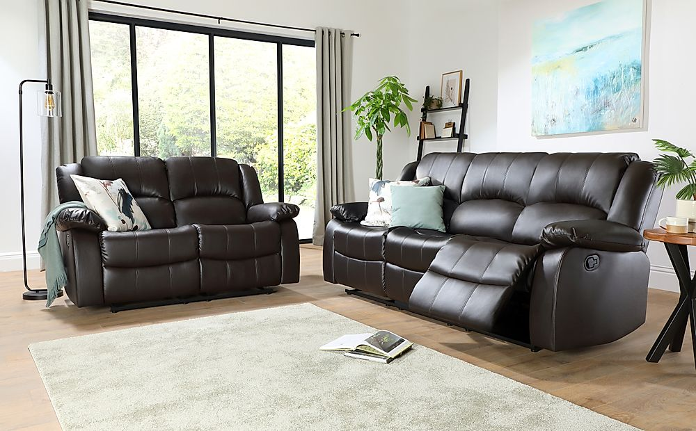 Dakota Brown Leather 3+2 Seater Recliner Sofa Set