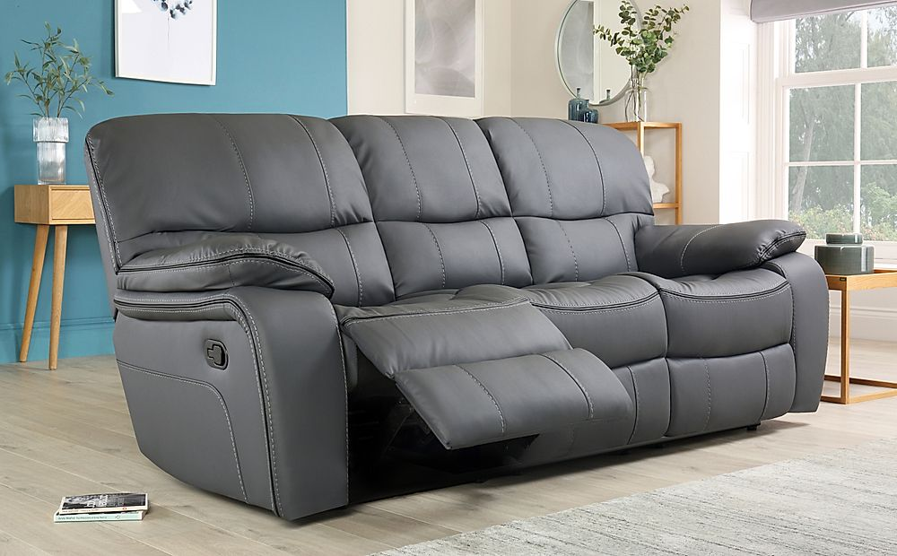 Beaumont Grey Leather Recliner Sofa 3 Seater