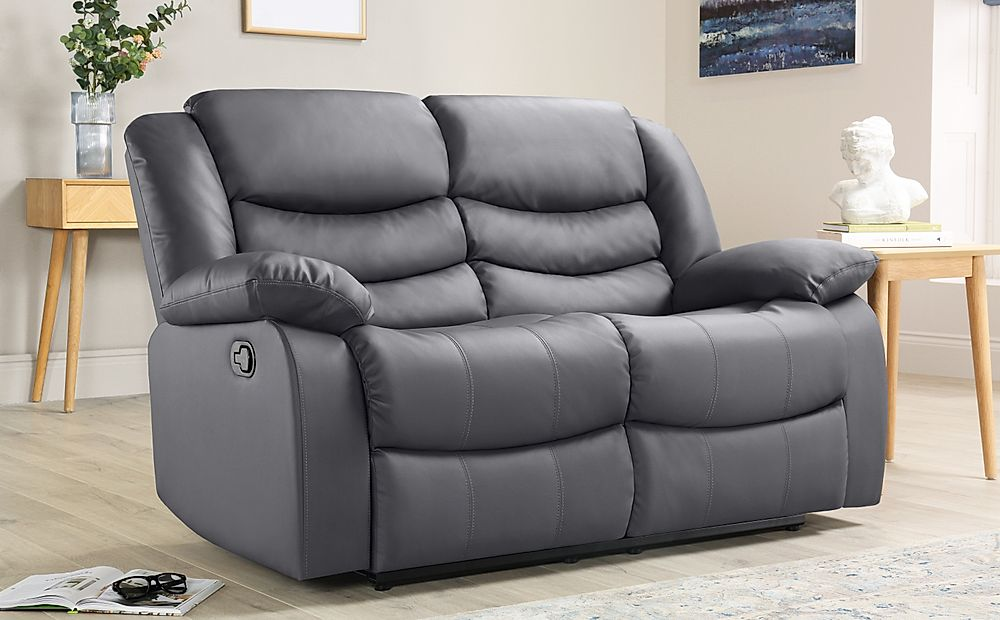 Sorrento Grey Leather 2 Seater Recliner Sofa