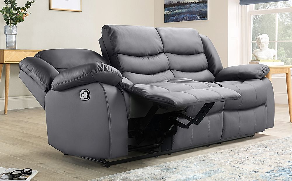 Soro Grey Leather 3 Seater Recliner, Sofas With Recliners