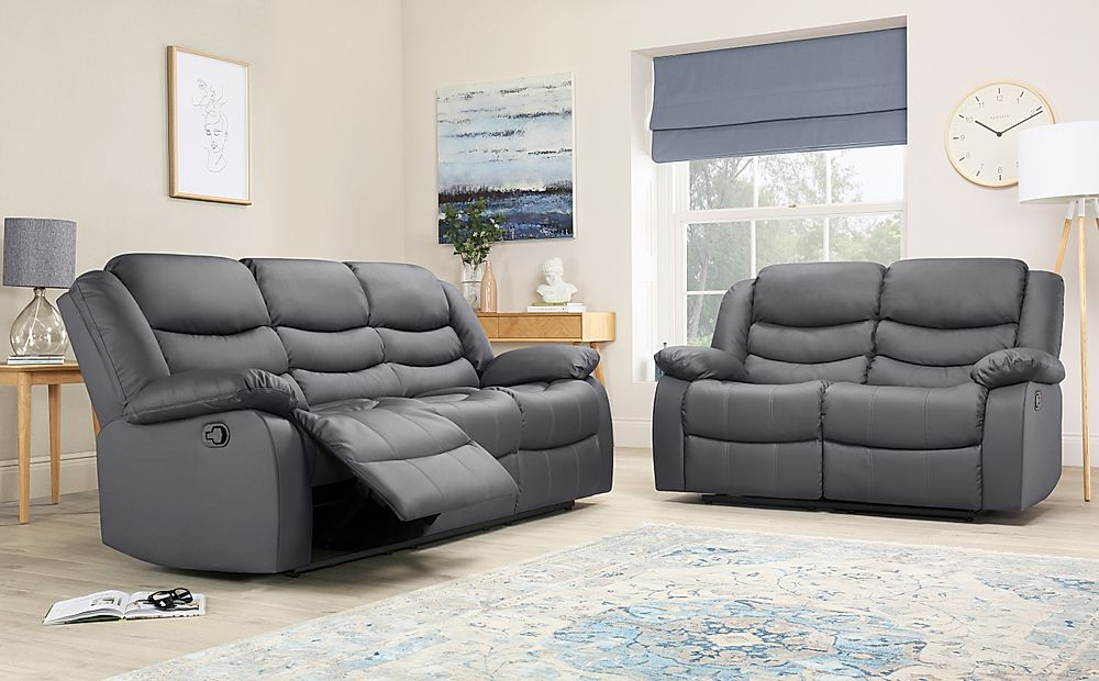 Sorrento Grey Leather 3+2 Seater Recliner Sofa Set