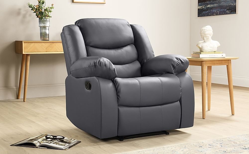 Sorrento Grey Leather Recliner Armchair