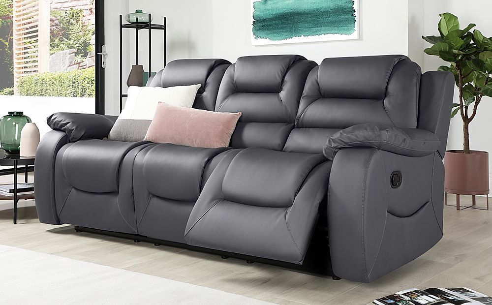 Vancouver Grey Leather 3 Seater Recliner Sofa