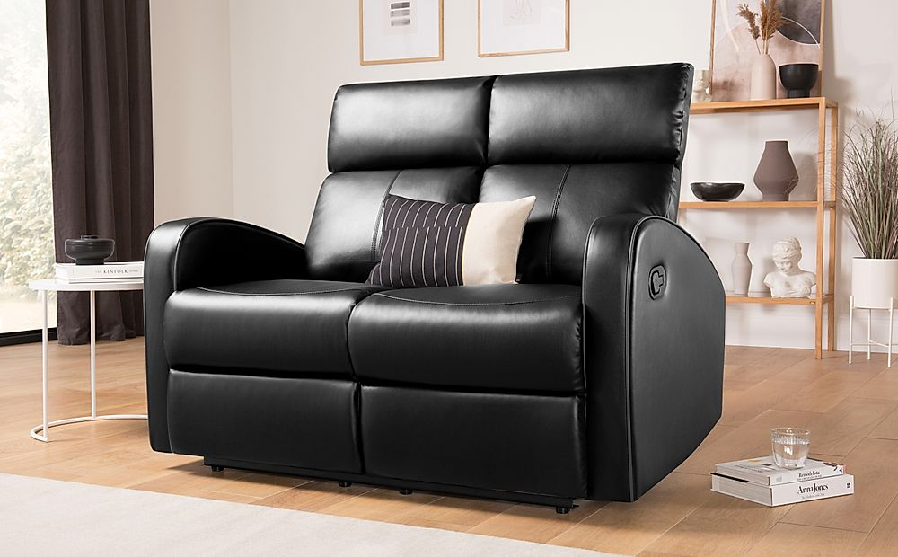 Ashby Black Leather Recliner Sofa 2 Seater
