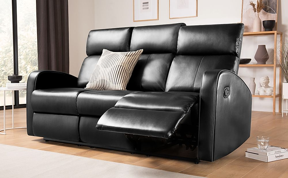 Ashby Black Leather Recliner Sofa 3 Seater