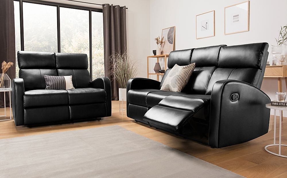 Ashby Black Leather 3+2 Seater Recliner Sofa Set