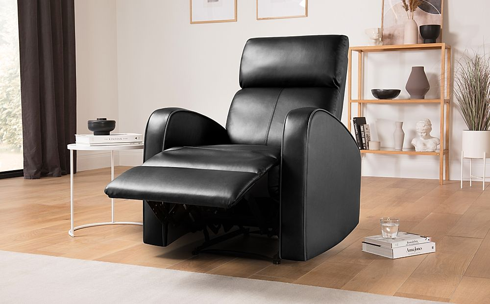 Ashby Black Leather Recliner Armchair